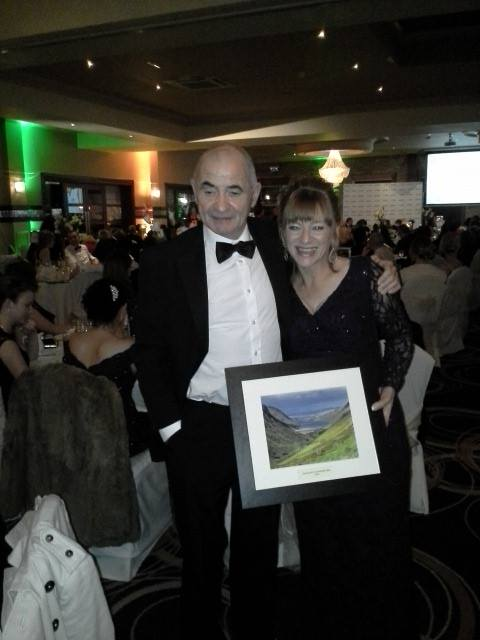 Evelyn and Alfie Greene from Greenes Shoes receiving the Excellence in Marketing Award Letterkenny Chamber of Commerce