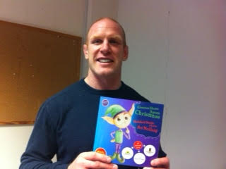 "Paul O Connell of Irish Rugby Fame. Supporting ""Greenes Shoes Saves Christmas"" a bilingual children's book written by Evelyn to celebrate Greenes Shoes 75 years in business"
