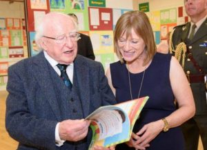 President Micheal D Higgings reading the Crafty Kids Guide To Donegal and Its Wild Atlantic Way